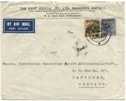 Burma 1939 Commercial Air Cover To Germany W/burma 3a6p And 6p, Rangoon Gpo Cds