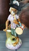19th Cent. German Meissen-style Porcelain Singerie Monkey Playing Flute And Drum