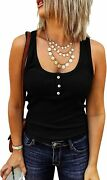 Yacooh Women's Sleeveless Tank Tops Button Down Henley Shirts Ribbed Knit Scoop