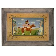 Farm Animals Country Art Vintage Rustic Pig Horse Wood Framed Picture Print
