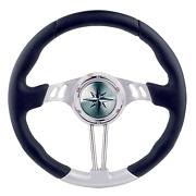 Marine Boat 3-spoke Wheel Boat Hawk Silver Alum Black Plastic Rim A 350mm B90mm