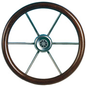 Marine Boats 6-spoke Wheel Leader Wood Stainless Steel Teak Rim A360mm B100mm