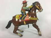 Vintage Haji Cowboy With Gun On Horse Wind Up Litho Tin Toy Made In Japan-works