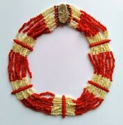 Victorian Red And White Coral Necklace - C.1870
