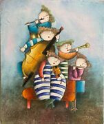 Joyce Roybal - Original Signed Oil Painting 5 Musicians