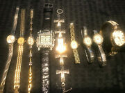 Vintage Lot Of 9 Ladies Wrist Watches Waltham, Hugo And More
