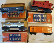 '47 Lionel 2257 Sp Caboose,2465 Sunoco Tank,2452x Prr Gon,x6004 Baby Ruth Boxcar