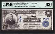10 1902 Pb The National State Bank Of Elizabeth, New Jersey Ch 1436 Pmg 63 Epq
