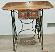 Antique Vintage Sewing Machine Table W/ Top W/cast Iron Legs Functional Treadle