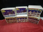 Wee Crafts Paint Kit Vintage Lot Of 6 Christmas Village Dairy Fire Wagon Clock