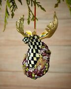 Mackenzie Childs Courtly Check Moose Christmas Tree Ornament New Box With Stand