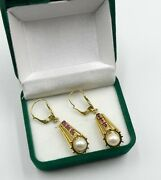 Antique 18k Gold Lever Back And Lantern Shape Drop Pearl Small Ruby Earrings