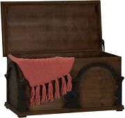 Trunk Storage Chest Wooden Arch Large Brown Rustic Antique Box Treasure Brown