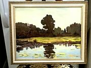 Signed Oil Board Mihail Chercas Russian-american Artist Painting Landscape Frame
