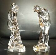 Magnificent French Baccarat Crystal Gentleman And Lady Putting Golfers Figurines