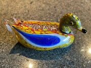 Vintage Finely Crafted Murano Italian Large Art Glass Duck 12 Wide X 6 High. K
