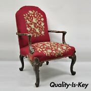 Antique Georgian Floral Needlepoint Carved Mahogany Fireside Lounge Arm Chair