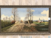 Rare Vintage Antique Ancient Painting Original Canvas Old Oil Germany Signed