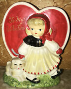 Vintage Napco Valentine's Day Heart Girl With Dog Planter - As Is