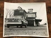 Vintage B/w Photo Schottand039s Mill Red Rose Feeds Sign Building Ford Pick-up Truck