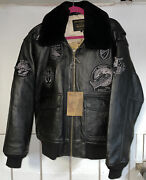 Mens Schott G1 Wings Of Gold Leather Bomber Jacket/ Size Large