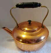Vintage 11 Copper Craft Tea Pot And Cover Lid Wood Handle Taunton Mass Good Used