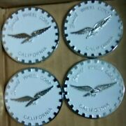 2.5andrdquo 2 1/2andrdquo Zenith Wire Wheel Corp. Set Of 4 Chips Emblems White And Chrome Metal