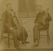 Southern Musicians Clipped Cabinet Card W/ Cello And Violin Handsome Young Men Vtg