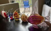 Lot Of 5 Murano Glass Fish Statues Paperweights Decor Largest 10andrdquo