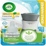 Air Wick Plug In Scented Oil Starter Kit Warmer + 1 Refill Apple Blossom And