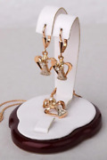 Vintage Rare Soviet Russian 583 Gold Womenand039s Earrings And Pendant Diamonds Ussr