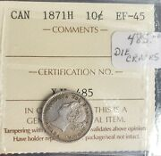 Can Coins Iccs Cert 1871 H 10 Cent Ef-45