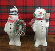 Set Of 2 Snowman Ornaments Frosted Wreath Broomstick Ragon House Nwt