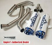 Empire Industries 15-20 Raptor 700 Dual Exhaust Full System White-blue