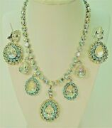 Vogue Demi Ab Large Turquoise 5-pendant Gp Necklace + Earrings -stunning
