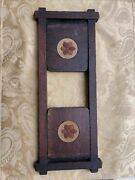 Arts And Crafts W Flowers Wood Foldable Book Rack Antique Vintage