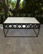 Handcrafted Cocktail Table White Marble Top Powder Coated Iron 46w X 24d