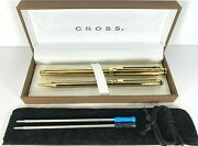 Cross Signature Barleycorn 22k Electroplate Gold Rollerball Pen And 0.5mm Pencil