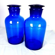 Set Of 2 Cobalt Mid Blue Vintage Apothecary Jars With Ground Glass Stoppers