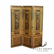 Maitland Smith Large Hand Painted 3 Panel Room Divider
