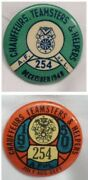 1948 And 1950 Vtg Union Local 254 Chauffeurs Teamsters And Helpers Pinback Button