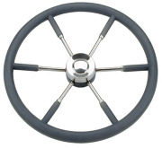 Marine Boat 6-spoke Wheel Type 9 Stainless Steel With Black P.u. Rim 700mm
