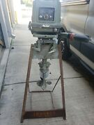 Vintage Johnson Seahorse 18 Boat Motor And Original Stand