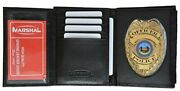 Leather Wallet Badge Holder Sheriff Officer Id Police Shield Security Black Case