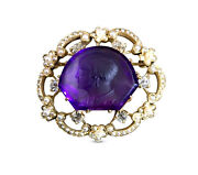 C.1900 Edwardian Carved Amethyst Cameo 14k Gold Brooch Pearls And Diamonds Rare