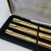 Vintage Three Pieces Set Parker 61 Mkii Gold Fountain Ballpoint And Pencil - Box