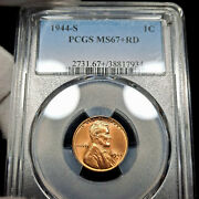 1944-s Ms67+ Plus Red Rd Lincoln Wheat Cent 1c Pcgs Graded
