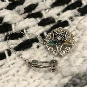 Vintage Antique Order Of The Eastern Star 10k Gavel Gemstones White Gold Pin Oes