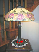 Antique Pittsburgh Reverse Painted Lamp - Signed