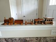 Vintage Handcrafted Wooden Toy Train Set 5 Pieces